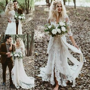 Старинные богемные свадебные платья с длинным рукавом 2021 ретро кружевной аппликации Hippie сельской местности невесты платье Split Vestido de Novia