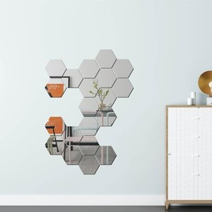 Зеркала акриловые зеркало DIY стерео стена паста крыльцо коридор личности украшения шестиугольной шестиугольника свадьба