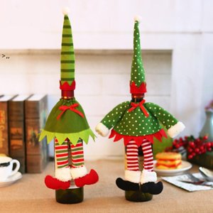 Christmas Red Wine Bottle Cover Xmas Decor Polka Dot Stripe Wine Bottle Bags For Home Party Decorations Supplies OWA8772