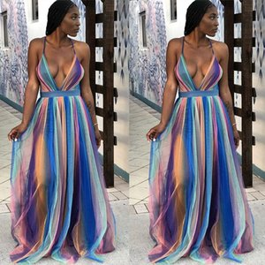 Womens Dresses Casual Neck Sexy Night Club Party Dress Women Vestidos Spaghetti Strap Backless Long Maxi Chiffon Zoulv Summer Deep-V