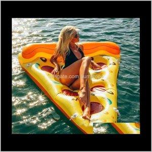 Inflatable Pool Floats Tubes Inflated Pizza Floating Row Mounts Swim Ring Swan Flamingo Cartoon Fashion 88Jr 3Lwvh Tftsh