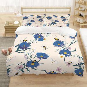 Bedding Sets 3D Rose Print Set King Queen Large Size 2 3 Piece Home Textile Girls Bedroom Decorative Quilt Pillowcase