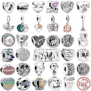 2021 I Love Mom Family London DIY 925 Sterling Silver Hollow Beads Fit Original Pandora Charms Bracelets Women Girls Jewelry