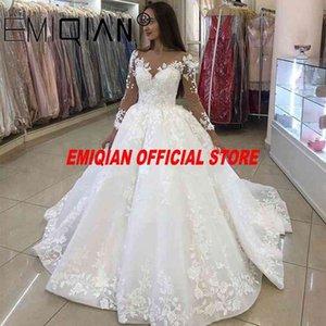 V-neck Long Mouwen New Wedding Dresses, Elegant Edge Bridal Dress, Plus Size Vestido De Noiva