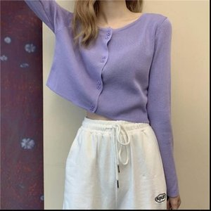 Autumn Womens Sweaters Sweater Women Cardigan Purple Winter Two Buttons Fall Korean Style Sexy Soft Fashion Clothes Knitted