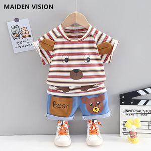 Kid Boys Summer Clothes baby Outfit Fashion Cartoons Bear Short-sleeved T-shirt Denim Shorts 2pcs Set Children Clothing Boy suit
