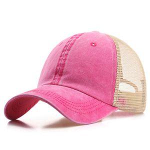 7 Colors Ponytail Hats Men Woman Washed Mesh Baseball Cap Outdoor Sports Adjustable Sun Protection Net Caps CYZ3097 45Pcs