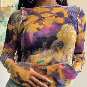 Slit Long Sleeve Tie-dye Mesh T Shirt Women Girls See Through Crop Tops Y2k Aesthetic Tshirts Women's T-Shirt