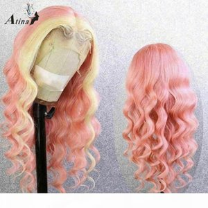Atina Body Wave Highlight 613 Blonde Pink Colorful Part Lace Human Hair Wigs Pre Plucked Ombre Wigs Brazilian Full Bleach Knots