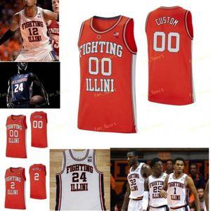 NCAA College Illinois Fighting Illini كرة السلة جيرسي 35 Samson Oladimeji 4 Zach Griffith 5 Deron Williams 5 Tevian Jones مخصص مخيط