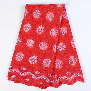 Ribbon Est Cotton-Like African Guipure Lace Fabric High Quality Floral Nigerian Voile With Stones For Sewing Cloth