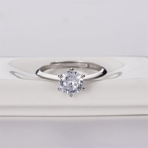 Xiaozhong Design S925 Pure Silver t Family One Card Diamond Simulation Ring