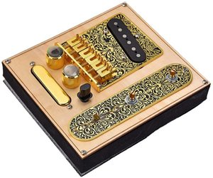 6 Strings Saddle Bridge Plate, 3 Way Switch Control Plate, Neck Pickup Set for Fender Telecaster Electric Guitars Replacement Parts - Gold