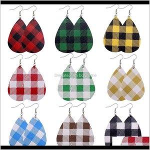 Chandelier 1Pair Christmas Lattice Style Pu Faux Leather Fashion Teardrop Drop Dangle Earrings Women Light Weight Ear Jewelry Rwpb0 1Lq9H