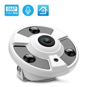 Hamrolte 5MP ONVIF IP Camera 1.7MM Fisheye Lens Panoramic Camera 180Degree Wide Angle Internal Audio Nightvision H.265 Xmeye H0901