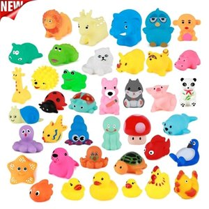 10Pcs Set Cute Baby Bath Wash Play Animals Soft Rubber Float Sqeeze Sound toys for baby GYH L0323