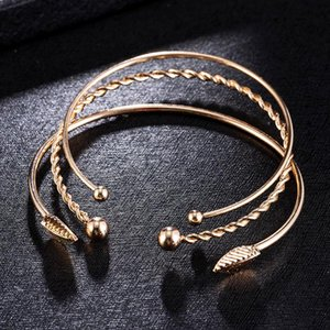 3pcs set Adjustable Gold Leaves Opening Bracelet Fashion Statement Jewerly Bracelets For Women Lady Charm Party Accessories Link, Chain
