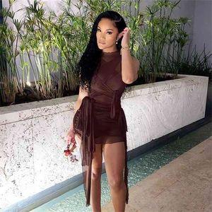 Braune Bänder Mesh Sehen Sie durch Bodycon-Partykleider Frauen Sexy Clubwear Minikleid Solid Sleeveless Grundlegende weibliche Outfits