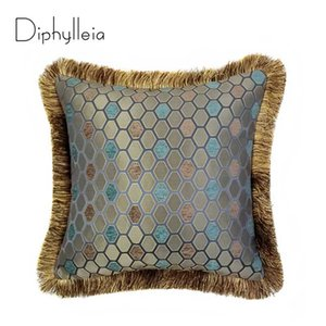 Diphylleia Collection Luxury Jacquard Rayon Honeycomb Leaf Decorative Pillow Case Living Room Couch Sofa Cushion Cover 45x45cm
