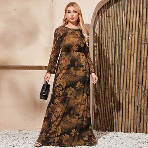 Muslim Islamic Clothing Dress Plus Size Women Long Sleeve Retro Floral Print Vintage Dress Pockets Maxi Abaya 2020 Autumn Winter