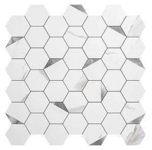 Art3d 6-Sheet 3D Wall Stickers Self-adhesive Hexagon Mosaic Peel and Stick Backsplash Tiles for Kitchen Bathroom , Wallpapers(31X30CM)