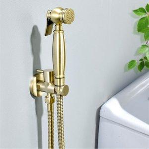 Gebürstete Gold Bidet Wasserhahn Badezimmer WC Kaltwasser Hygienische Dusche Reinigen Muslim Tragbare Messing Gun Sprayer
