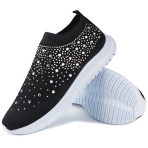 Large Size Women's Shoes Breathable Sneakers with Diamond Fly-Kit Mesh Casual Pumps