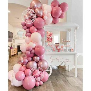 78PCS Retro Pink Balloon Garland Arch Kit Macaron Latex Globos Baby Shower Valentine's Day Wedding Kid Birthday Decorations 210909