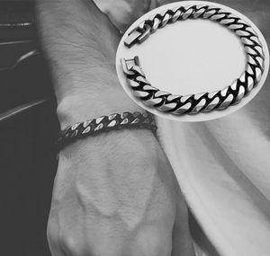 Stainless Steel Men Retro Bracelet Gifts Mens Curb Cuban Link Accessories Black Rock Charm Hand Chain Bracelets Male Paeuy 7Sb9B