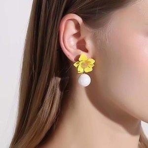 Sweet Faux Pearl Resin Stud Summer Jewelry Dangle Earrings Women Flower Decor Earringss