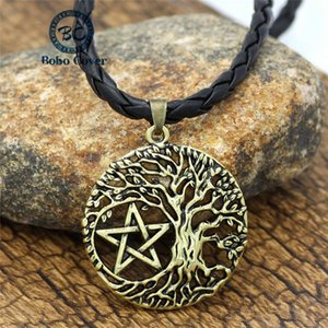 Vintage Punk Men Women Antique Golden Stars Leather Cord Necklace Hollow World Tree Round Pendant Jewelry Christmas Unique Gifts Necklaces