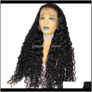 Peruvian Bouncy Curly Silk Top Full Lace For Black Women Natural Color 180Density Deep Part Human Hair Wigs Middle Ratio Yt2Lr Fydzt
