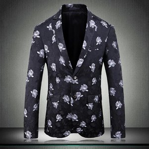 2020 Flower Male Blazers Luxury Single Breasted Party Wedding Prom Blazers Men Plus Size 4xl 5xl Slim Fit Mens Suit Jacket