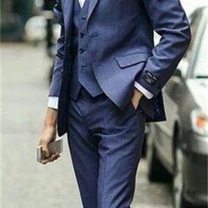 Suits Design Blue Groom Tuxedos Wedding For Men Designers Tailored Prom Suit Boyfriend Blazer Bridegroom(Jacket+Pants+Vest)
