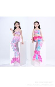 Bikini swimwear Mermaid Swimsuit Bikini three piece girls tail with f