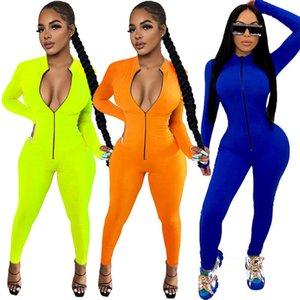 Rompers Women Jumpsuits Sexy Long Sleeve V Zipper Neck Bodysuits Ladies Autumn Jumpsuit Playsuits Female Onesies Plus Size Clothes 050902 USZ2
