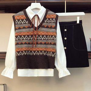 Women's Tracksuits Three Piece Sets Female 2021 Spring Autumn Fashion White Blouse Sweater Vest Short Dress Women Japanese Slim Button Lace