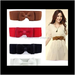 Belts & Accessories Drop Delivery 2021 Fashion Women Lady Wide Elastic Stretch Bowknot Bow Tie Belt Solid Colored Waistband For Dresses Cloth