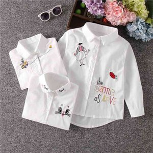 New Arrival Girls White Blouse Fall Cute Long Sleeves Children Cartoon Shirts Girl Blouses Cat Teenager School Clothes Kids Tops 210331