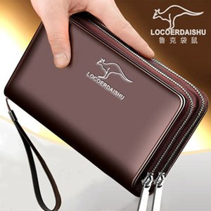 Rook Kangaroo Men's Bag Fashion Long Wallet Business Multi Card Large Capacity Double Zipper Cross Sectionwallet