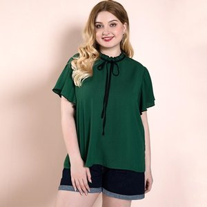 Women's Blouses With Ruffles Female Big Size Oversize Shirt Lady Summer Tops Fat Elegant Clothes Green Chiffon 25-35 Years Old & Shirts