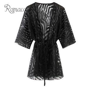 Women's Blouses Romacci Semi Sheer Tunics For Beach Women Kimono Cardigan Solid Open Front Boho Loose Outerwear Bikini Cover Up Black
