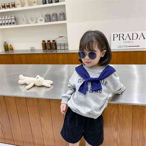 Girls Spring autumn fashion Cape letters printed sweatshirts Cotton casual long sleeve Tops 210708
