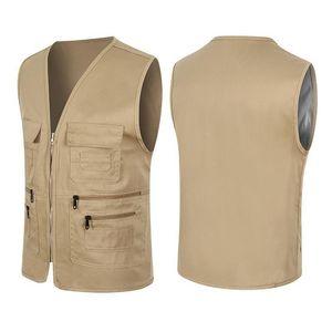 Men's Vests Fishing Travelling Waistcoat Hiking Gilet Coat Mens Vest Clothing 2021 Women Fisherman Multi Pockets Jean Jacket