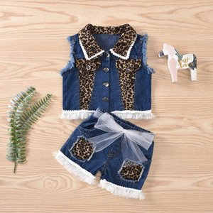 Clothing Sets Girls Outfits Baby Clothes Children Suit Summer Denim Leopard Lace Waistcoat Coat Shorts 2Pcs 1-5Y B4499