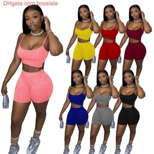 2021 Summer Women Short Set Outfits Two Pieces Set Tracksuit Jogger Suits Sexy Suspenders Tops Suit Plus Size Clothing