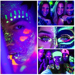Fit Colors 12 Color Fluorescent Eyeliner Eyeshadow Halloween Face Painting Oil Lip Mud Art For Party Cosmetics