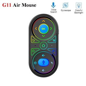 Air Mouse RGB 7 Colors Backlight USB Charging Google Voice Microphone 2.4G Wireless Rechargeable Mini IR Remote Controlers