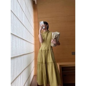 2021 Summer New Korean Style, Slim Fitting, Sleeveless Niche Design, Half High Collar, Large Skirt, Long Dress[finished on July 20]