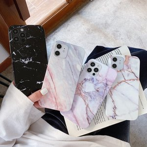 Ottwn Glossy Phone Case For iPhone 12 11 Pro X XR XS Max 7 8 Plus SE 2020 Fashion Marble Stone Soft IMD Cover